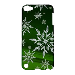 Christmas Star Ice Crystal Green Background Apple Ipod Touch 5 Hardshell Case by BangZart