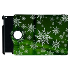 Christmas Star Ice Crystal Green Background Apple Ipad 2 Flip 360 Case by BangZart
