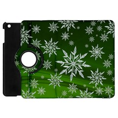 Christmas Star Ice Crystal Green Background Apple Ipad Mini Flip 360 Case by BangZart
