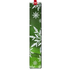 Christmas Star Ice Crystal Green Background Large Book Marks