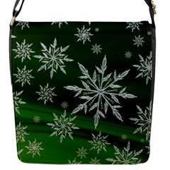 Christmas Star Ice Crystal Green Background Flap Messenger Bag (s)