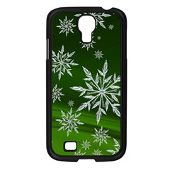 Christmas Star Ice Crystal Green Background Samsung Galaxy S4 I9500/ I9505 Case (black)