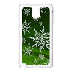 Christmas Star Ice Crystal Green Background Samsung Galaxy Note 3 N9005 Case (white) by BangZart