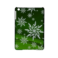 Christmas Star Ice Crystal Green Background Ipad Mini 2 Hardshell Cases by BangZart