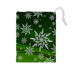 Christmas Star Ice Crystal Green Background Drawstring Pouches (large)