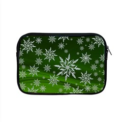 Christmas Star Ice Crystal Green Background Apple Macbook Pro 15  Zipper Case by BangZart