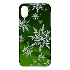 Christmas Star Ice Crystal Green Background Apple Iphone X Hardshell Case