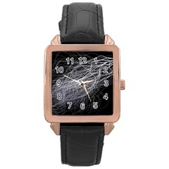 Flash Black Thunderstorm Rose Gold Leather Watch  by BangZart