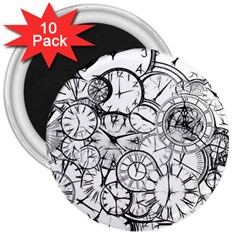 Time Clock Watches Time Of 3  Magnets (10 Pack)  by BangZart