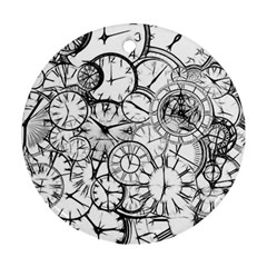 Time Clock Watches Time Of Round Ornament (two Sides)