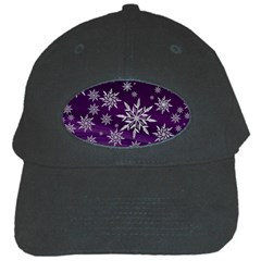 Christmas Star Ice Crystal Purple Background Black Cap by BangZart