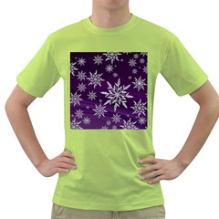Christmas Star Ice Crystal Purple Background Green T Shirt