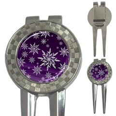 Christmas Star Ice Crystal Purple Background 3 In 1 Golf Divots by BangZart