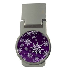 Christmas Star Ice Crystal Purple Background Money Clips (round)