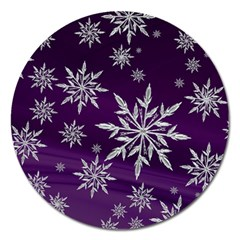 Christmas Star Ice Crystal Purple Background Magnet 5  (round) by BangZart
