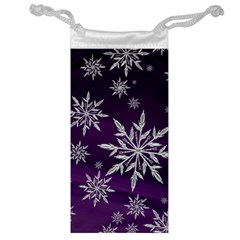 Christmas Star Ice Crystal Purple Background Jewelry Bag