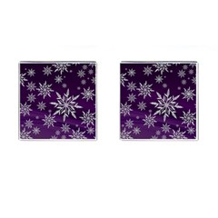 Christmas Star Ice Crystal Purple Background Cufflinks (square) by BangZart