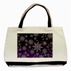 Christmas Star Ice Crystal Purple Background Basic Tote Bag by BangZart