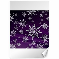 Christmas Star Ice Crystal Purple Background Canvas 12  X 18