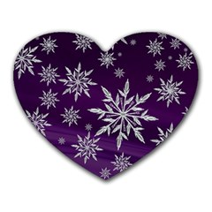 Christmas Star Ice Crystal Purple Background Heart Mousepads by BangZart