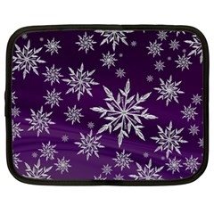 Christmas Star Ice Crystal Purple Background Netbook Case (large) by BangZart