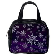 Christmas Star Ice Crystal Purple Background Classic Handbags (one Side)