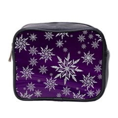 Christmas Star Ice Crystal Purple Background Mini Toiletries Bag 2 Side by BangZart