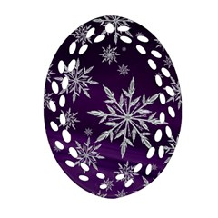 Christmas Star Ice Crystal Purple Background Oval Filigree Ornament (two Sides) by BangZart