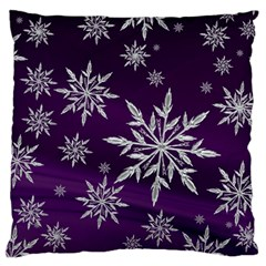 Christmas Star Ice Crystal Purple Background Large Cushion Case (one Side) by BangZart