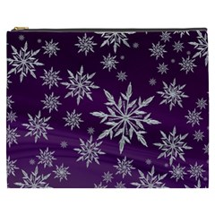 Christmas Star Ice Crystal Purple Background Cosmetic Bag (xxxl)