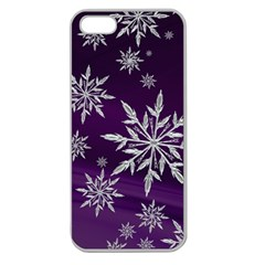 Christmas Star Ice Crystal Purple Background Apple Seamless Iphone 5 Case (clear) by BangZart