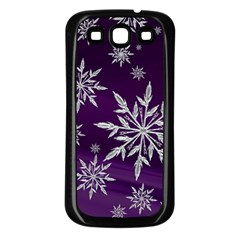 Christmas Star Ice Crystal Purple Background Samsung Galaxy S3 Back Case (black) by BangZart