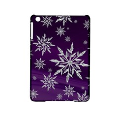 Christmas Star Ice Crystal Purple Background Ipad Mini 2 Hardshell Cases