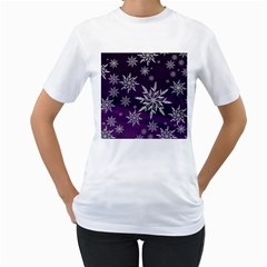 Christmas Star Ice Crystal Purple Background Women s T Shirt (white)