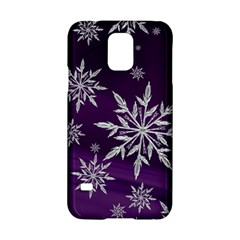 Christmas Star Ice Crystal Purple Background Samsung Galaxy S5 Hardshell Case  by BangZart