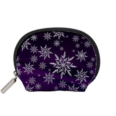 Christmas Star Ice Crystal Purple Background Accessory Pouches (small)  by BangZart
