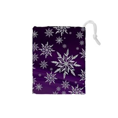 Christmas Star Ice Crystal Purple Background Drawstring Pouches (small)
