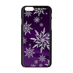 Christmas Star Ice Crystal Purple Background Apple Iphone 6/6s Black Enamel Case by BangZart