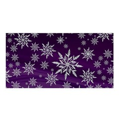 Christmas Star Ice Crystal Purple Background Satin Shawl