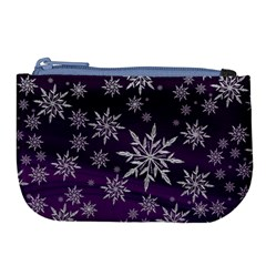 Christmas Star Ice Crystal Purple Background Large Coin Purse by BangZart