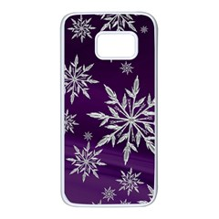 Christmas Star Ice Crystal Purple Background Samsung Galaxy S7 White Seamless Case by BangZart