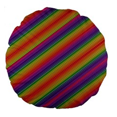 Spectrum Psychedelic Large 18  Premium Round Cushions by BangZart