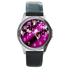 Background Christmas Star Advent Round Metal Watch by BangZart