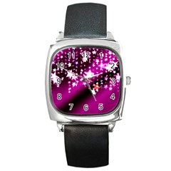 Background Christmas Star Advent Square Metal Watch