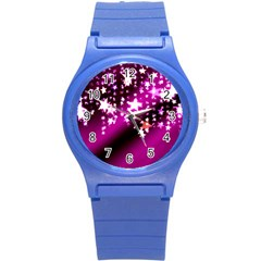 Background Christmas Star Advent Round Plastic Sport Watch (s) by BangZart