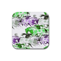 Horse Horses Animal World Green Rubber Coaster (square)  by BangZart