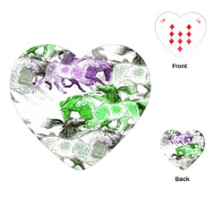Horse Horses Animal World Green Playing Cards (heart)  by BangZart