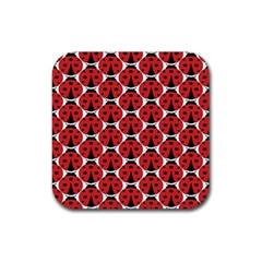 Ladybugs Pattern Rubber Square Coaster (4 Pack)