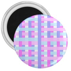 Gingham Nursery Baby Blue Pink 3  Magnets by BangZart