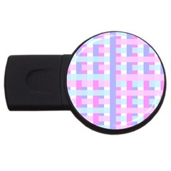 Gingham Nursery Baby Blue Pink Usb Flash Drive Round (4 Gb) by BangZart